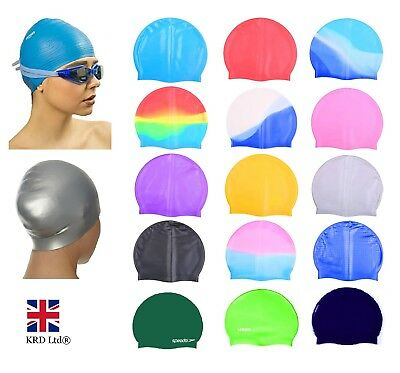 ADULT SWIMMING HAT Durable Elastic Silicone Pool Beach Swim Head Cap Summer UK