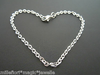 "Stainless Steel 2.4mm Cable Chain Bracelet Or Ankle Chain Anklet 7"" 8"" 9"" 10"" 11"