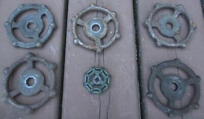 "(6) COOL  INDUSTRIAL CAST IRON WATER VALVE HANDLES 3 1/2"" dia..  STEAMPUNK  ART"