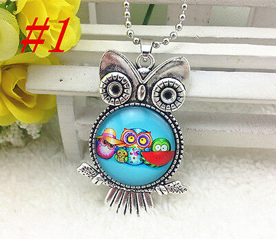 HOT OWL Silver Plated CHAIN NECKLACE  Alloy  & Pendants #P40