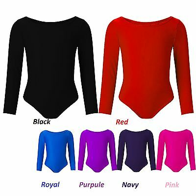 Child Girls Uniform Leotard Dance Gymnastics Ballet Long Sleeve Leotards 2-17