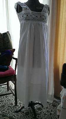 Vintage/Antique 1920's Ladies Night Gown Handmade Crisp Cotton & Crochet Lace