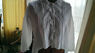 Antique Ladies Embroidered Lace Shirt Dress/Blouse Batiste Tiny Pintucks