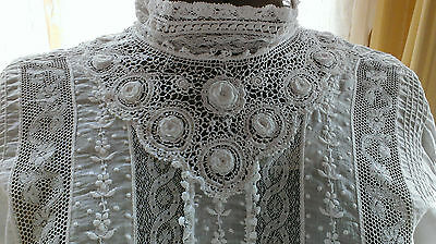 Antique Victorian Ladies Blouse/Shirt Dress Irish & Mixed Laces Pintucks Batiste