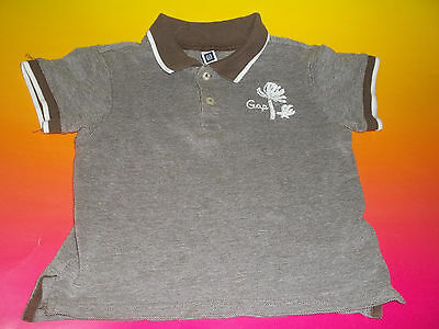 Baby Gap Boys Toddler Short Sleeve Polo Shirt 3Yrs Brown with Palm Trees GUC