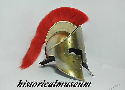 MEDIEVAL KING LEONIDAS SPARTAN HELMET ROMAN 300 MOVIE HELMET W/ RED PLUME