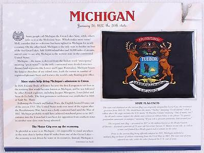 Michigan Willabee & Ward State Flag Patch Statistics Collectible Info Card