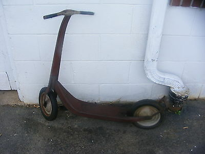 Vintage Antique Red Scooter With Hard Rubber Wheels Rustic Piece Radio Line! org