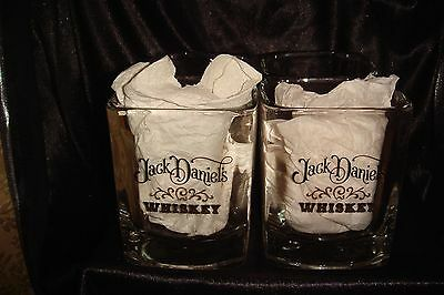 SET OF 4 Square 1970s Jack Daniel's Tennessee Whiskey Glass ~~Original Box