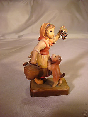 ANRI HANDCARVED HANDPAINTED ITALY NR. 6 CLUB GIRL WITH DOG AND GRAPES