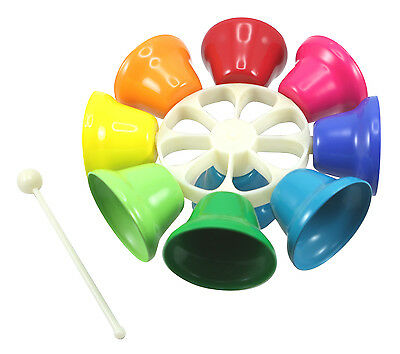 NEW Children's Rainbow Music Percussion Spinning Hand Bells - 8 Tone