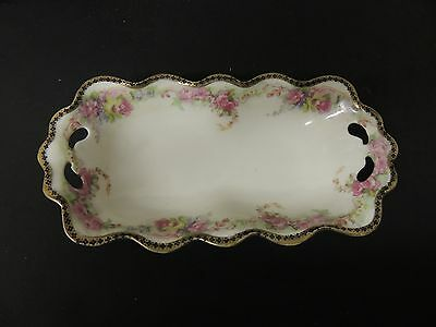 MZ Austria Hand Painted Vanity Tray Serving Dish Pink Roses Black Gold Trim