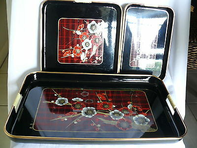 Oriental theme plastic set of 3 trays Asian inspired drinks tray meal serving