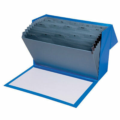 Office Depot A to Z Expanding Filing Box Foolscap file Blue