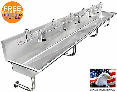 "Multi Station 6 Washing Hand Sink 132"" Manual Faucets With 2 Drains Made In Usa"