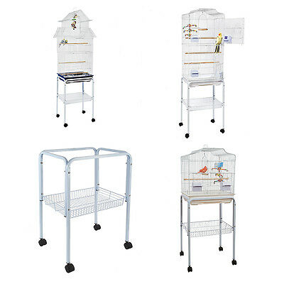 C1 Bird Stand and Cage White for Small Birds Budgie Canary Finch