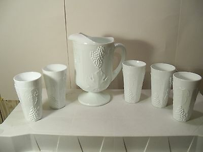 Large & Heavy Indiana Milk Glass Grape Harvest Water Set - Pitcher & 5 Tumblers