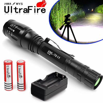 Cree 10000LM T6 XM-L LED Flashlight Torch Light +2X 18650 Battery+ Dual Charger