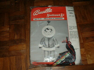 "Vintage Bucilla Needlework Kit #1207 22"" Eskimo Doll Sealed"