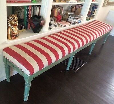Romantic Shabby Vintage 19c French Red Off White & Light Green Wood Stripe Bench