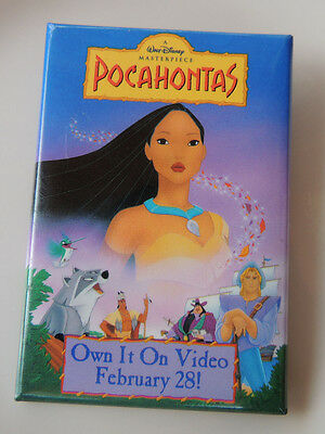 Walt Disney's Pocahontas Promotional Pin Backed Button Video Release