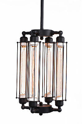 Tube Cage Edison Bulb Chandelier 4 lights Lobby Hanging Mid Century Pendant