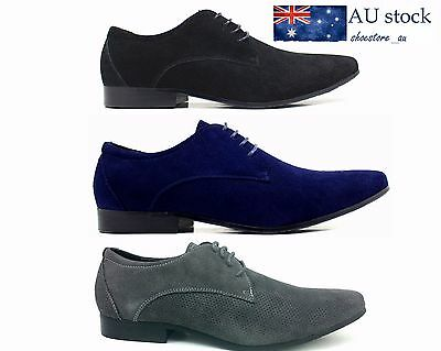 New Men's Genuine Real Leather Formal Dress Casual Shoes Black Blue Red Big Size