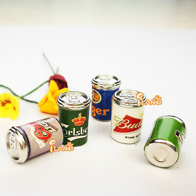 1:12 Dollhouse Miniature Assorted Beer Cans 5pcs FE005E