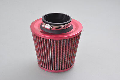 "GEE 3.0"" Inlet High Performance Universal Cold Air Intake Cone Air Filter Red"