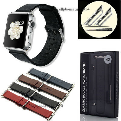 New Genuine Leather Watch Band Strap for Apple Watch + Classic Buckle 38mm/42mm