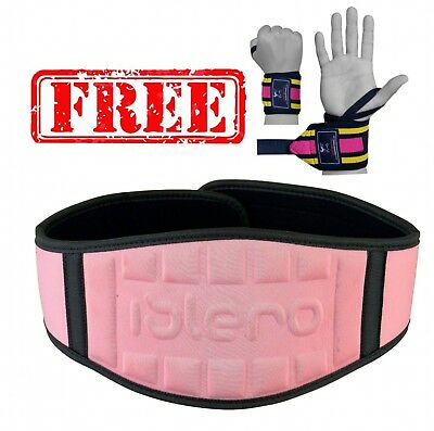 EVO Ladies Pink Weight lifting Gym belts Neoprene GEL Back Support Straps Wraps