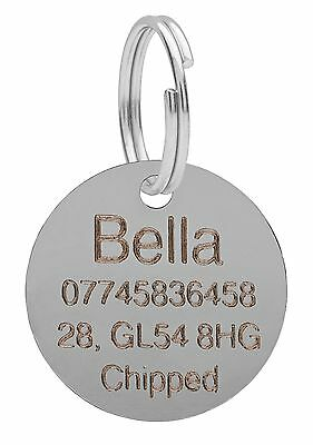 Dog Cat Pet Tag ID Tags Personalised Engraved Silver 25mm Round Puppy Collar