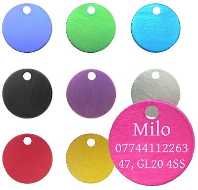 Dog Cat Pet Tag ID Tags Personalised Engraved 22mm Anodised Design Pet Collar