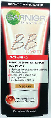 2 X Garnier BB Cream Anti Ageing Miracle Skin Perfector All in One 50ml Medium