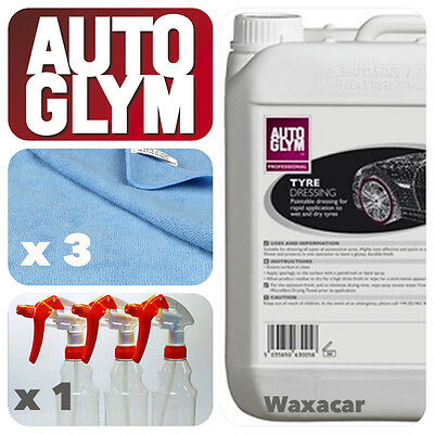 Autoglym 5L Instant Tyre Wall Dressing + Trigger Spray Bottle + 3 Cleaning Cloth