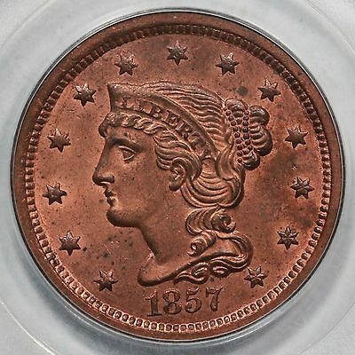 1857 N-2 PCGS MS 63 RD Rare Full RED Small Date Braided Hair Large Cent Coin 1c