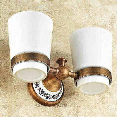 Antique Brass Bathroom Toothbrush Holder with Double Ceramic Cup Wall Mounted