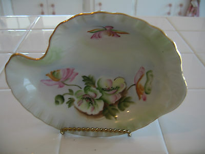 Vintage Lefton Hand Painted Candy Nut Trinket Dish Gold Trimmed To A Wild Rose
