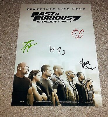 """Furious 7 Cast X4 Pp Signed 12""""x8"""" Photo Poster Fast N And Vin Diesel Statham"""
