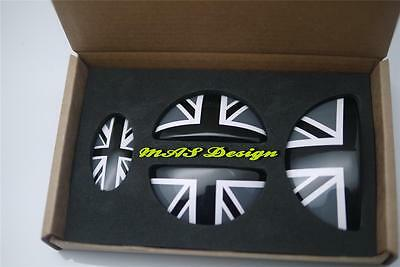 Clubman Door Emblem MINI COOPER S ONE SD JCW~4pcs Set Black Union Jack Style