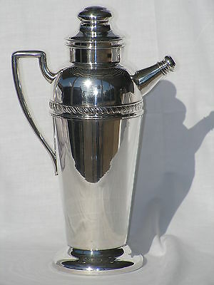 "FORBES SILVER PEDESTAL COCKTAIL SHAKER PITCHER ART DECO ERA GADROON PATTERN 13""H"