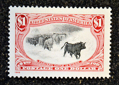 1998USA #3209h $1.00 Trans Mississippi Re-Issue - Colorado Silk Cattle Mint NH