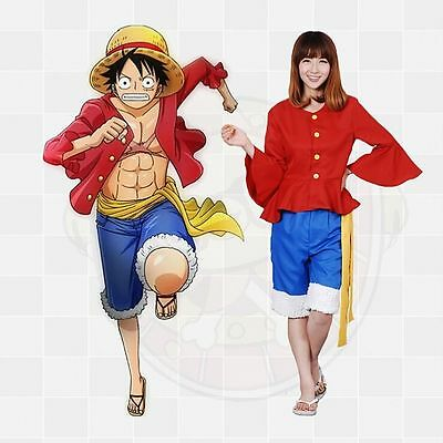 Anime One Piece Monkey D. Luffy Cosplay Costumes Party Outfit Adult M-2XL