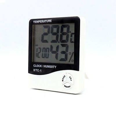 Digital Thermometer Humidity Hygrometer Meter LCD Alarm Clock for Kitchen Home