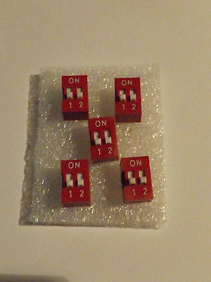 Double DIP Switch - Red - Slide Type 2x2 Position - 4 Pin - 5 Pack - Free P&P