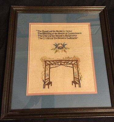"The Beauty of the House Counted Cross Stitch Complete Framed 14x 15"" Signed VTG"