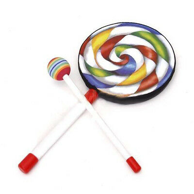 Lovely Colorful Lollypop Hand Drum Music Education Toy for Kids Children Gift