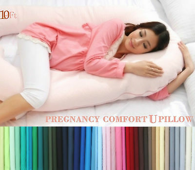 10FT Comfort U Pillow & Case Back Body Support Nursing Maternity Pregnancy V NEW