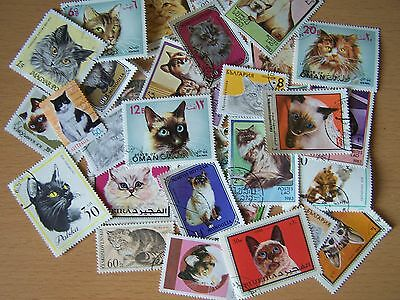 30 DIFFERENT CATS THEME STAMPS,EXCELLENT.