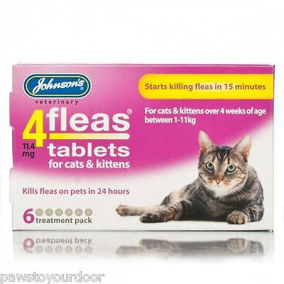 Tablettes Traitement Anti-Puce JOHNSONS 4FLEAS Chat Chaton Lot 1/2/3/4 & 6
